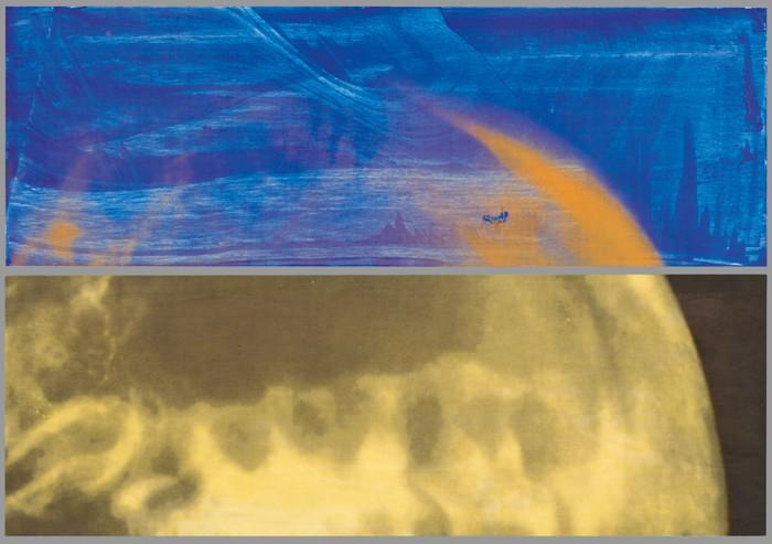 7/7/99, 1999, Gedruckte und gemalte Farbe auf Holz zweiteilig, ca. 56,5 x 85 cm, Ehepaar Dr. Brodt