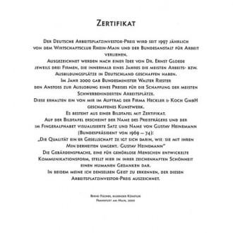 Deutscher Arbeitsplatz Investor Preis, Kategorie Schwerbehinderte Zertifikat