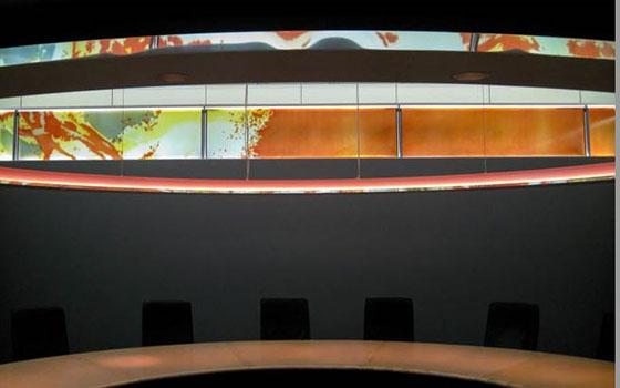 Glasfries für einen Konferenzraum