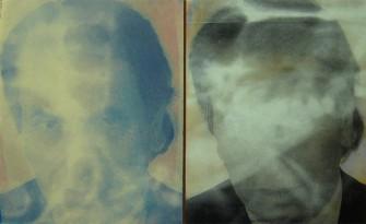 Diptychon – Studie zu einem Porträt von Dr. Ernst Gloede<br> 1996, gedruckte Farbe auf zwei Holztafeln <br>46 x 79 cm <br>Privatbesitz, Stefan Fankanowsky