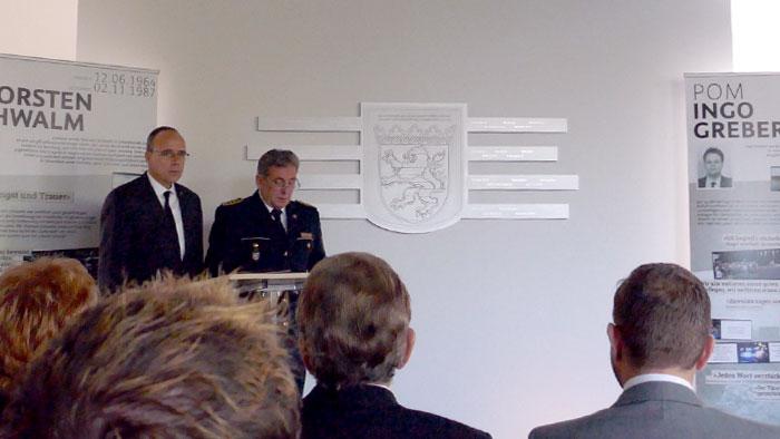 Einweihungsfeier, 2. November 2017; von links: Innenminister Peter Beuth, Landespolizeipräsident Udo Münch